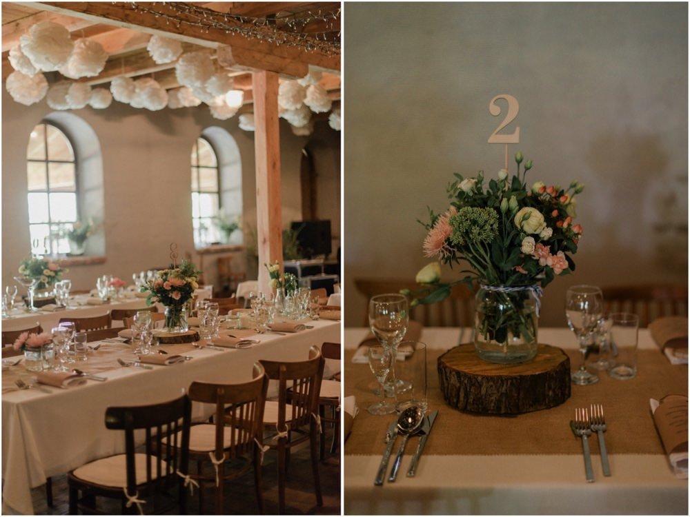 dekoracje ślubne na stół