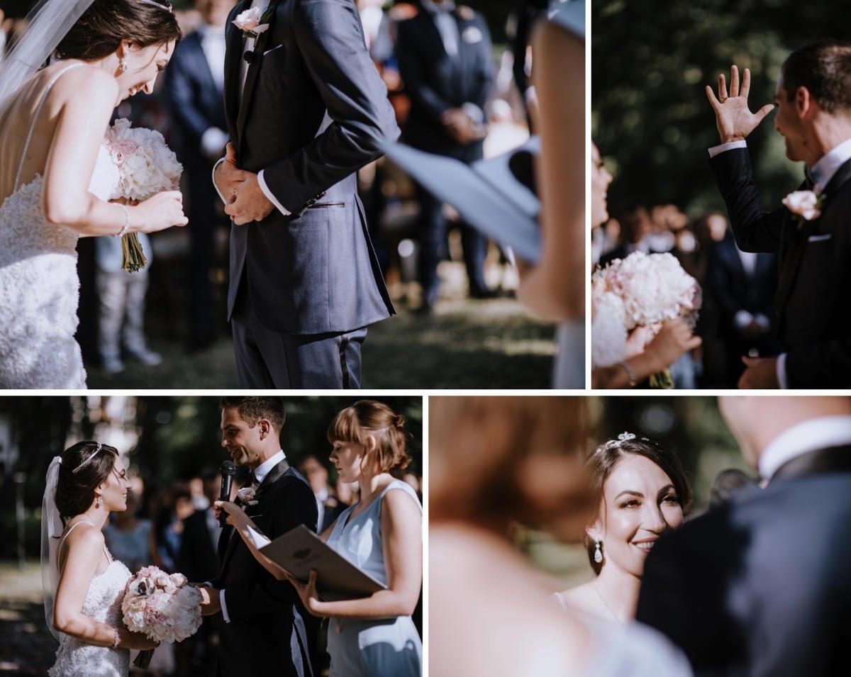 Ceremonia zaślubin w ogrodzie pałacu w Zdunowie