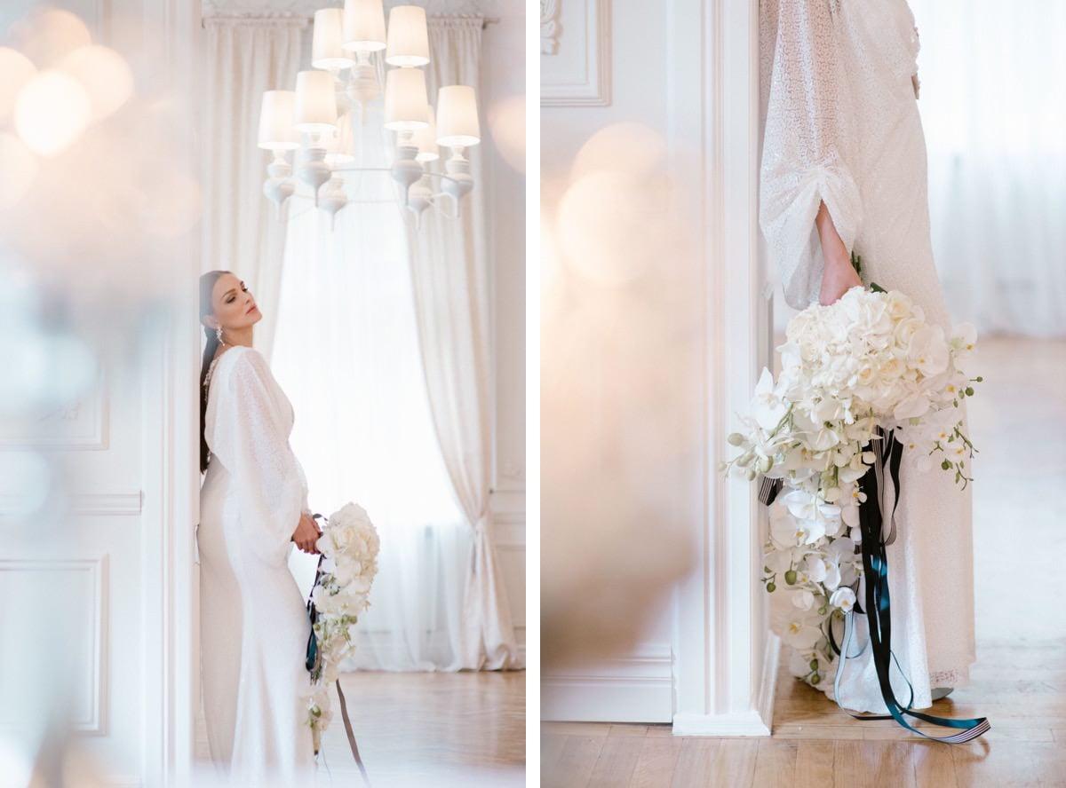 klasyka mody ślubnej, panna młoda, stylizacja ślubna, bukiet ślubny, storczyki na ślubie