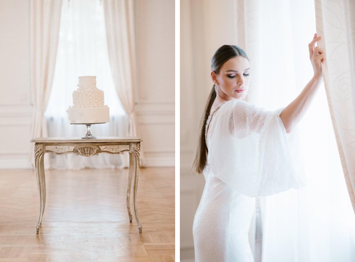 klasyka mody ślubnej, panna młoda, stylizacja ślubna, tort weselny