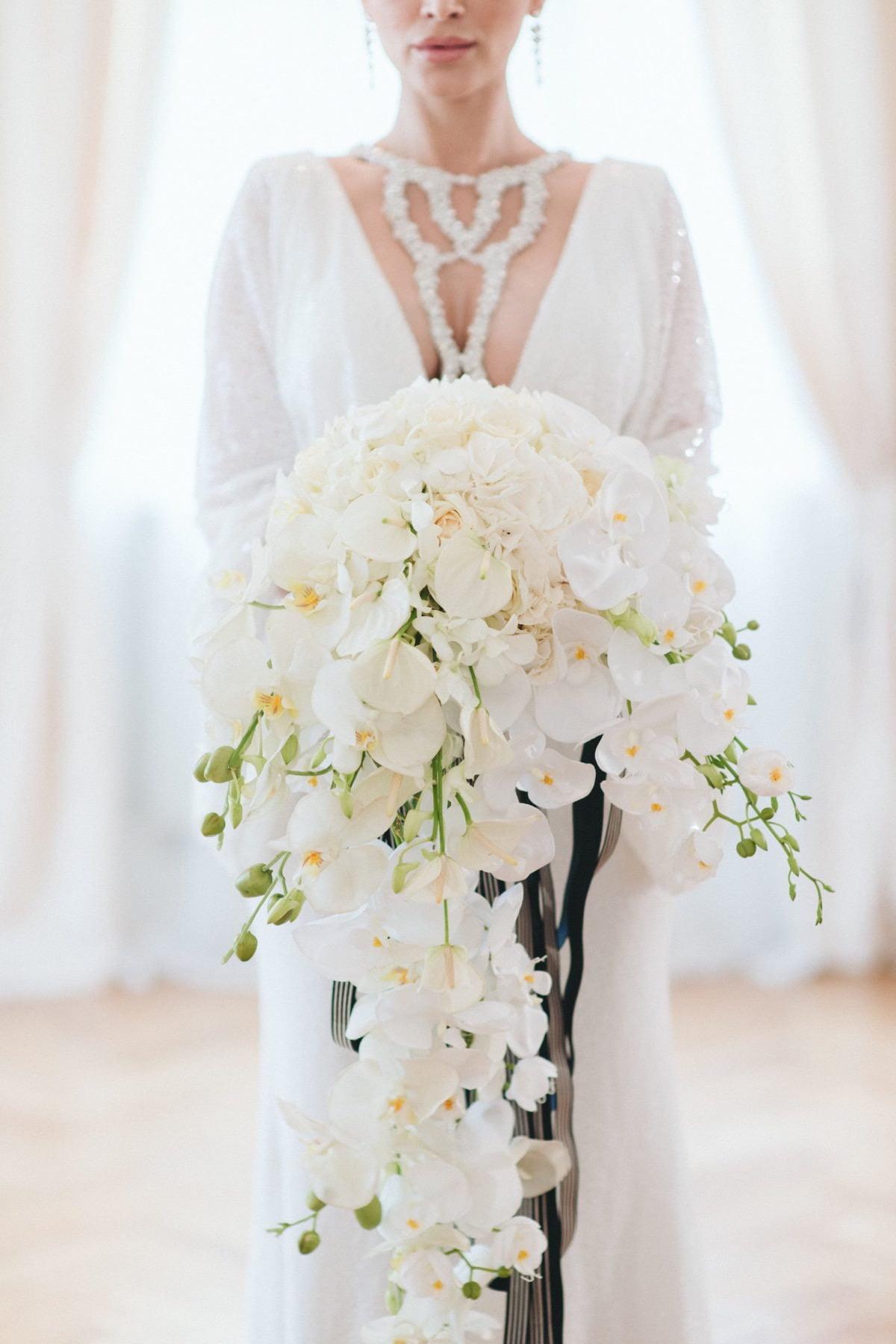 bukiet ślubny, storczyki na ślubie