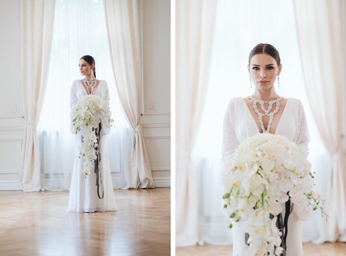 stylowy ślub, bukiet ślubny, storczyki na ślubie