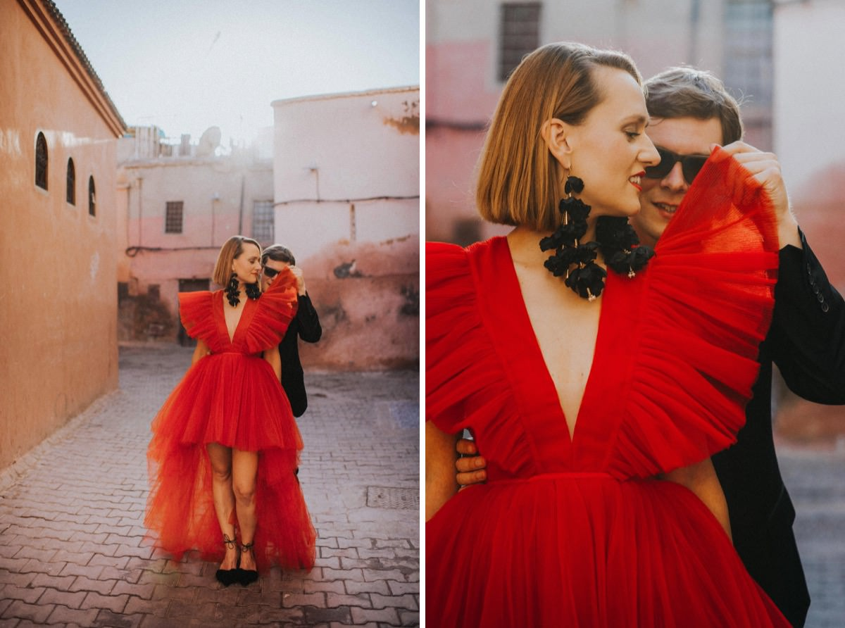 sesja poślubna, red wedding dress Giambattista Valli HM Morocco elopement ślub zagranicą Decolove