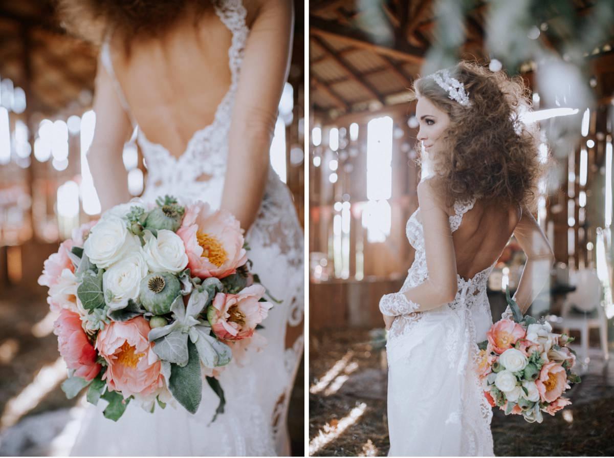 bukiet ślubny, peonie w bukiecie ślubnym, wesele w stodole, fryzura ślubna
