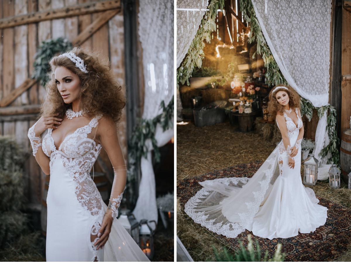 stylizacja panny młodej, suknia ślubna, fryzura ślubna, ślub w stodole