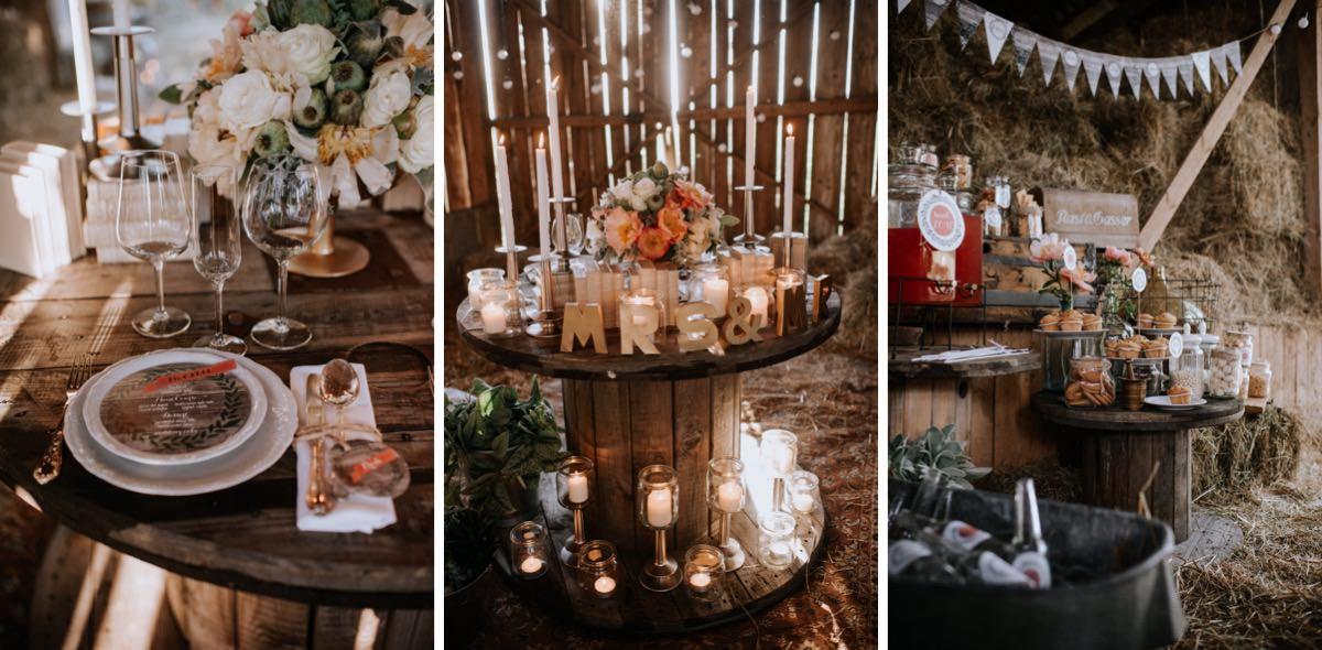 stół ślubny w stodole, świece na weselu, wesele w stodole