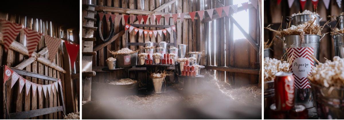 popcorn bar na weselu, wesele w stodole