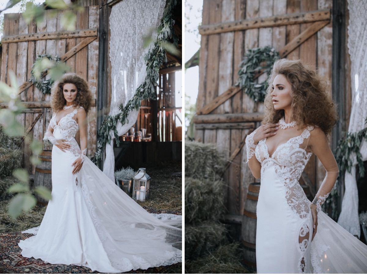 suknia ślubna Galia Lahav, opaski ślubne, wesele w stodole, seksowna suknia ślubna