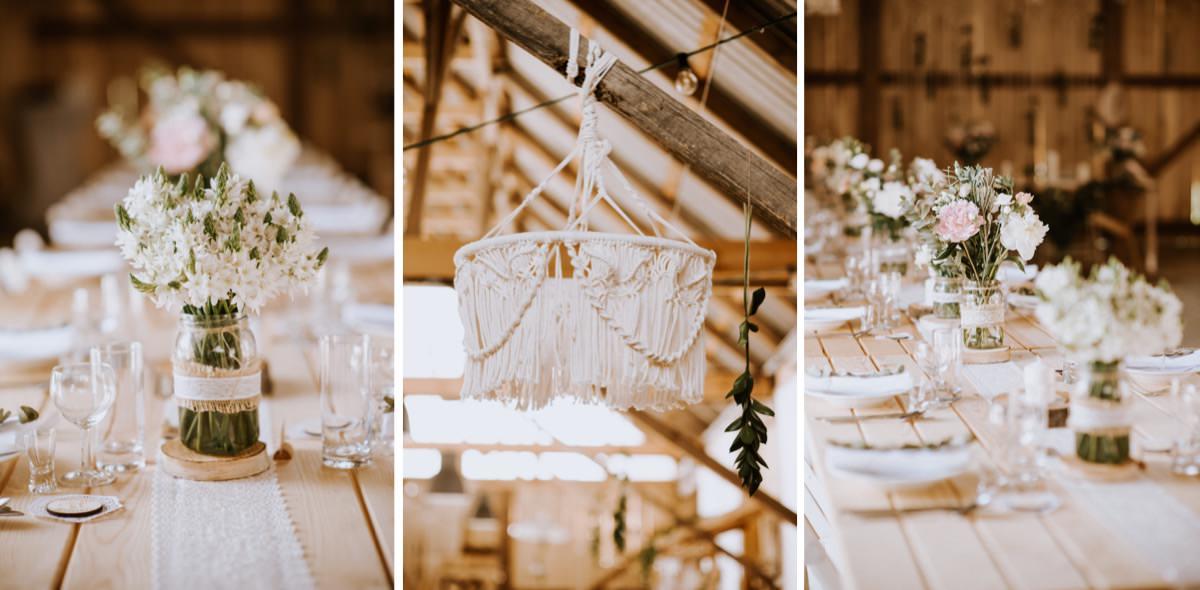 dekoracje ślubne w stodole