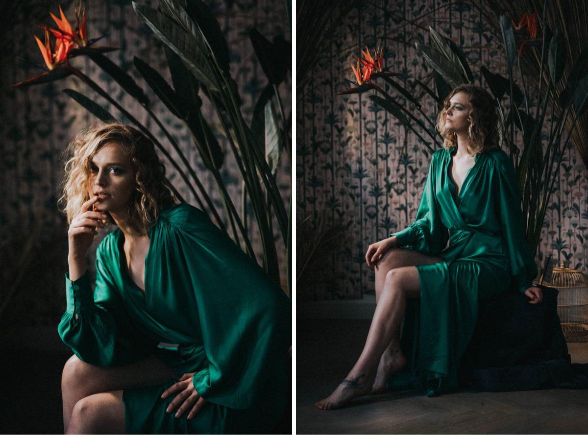 kobieta w zielonej sukience, sesja kobieca, kobieta w tropicach