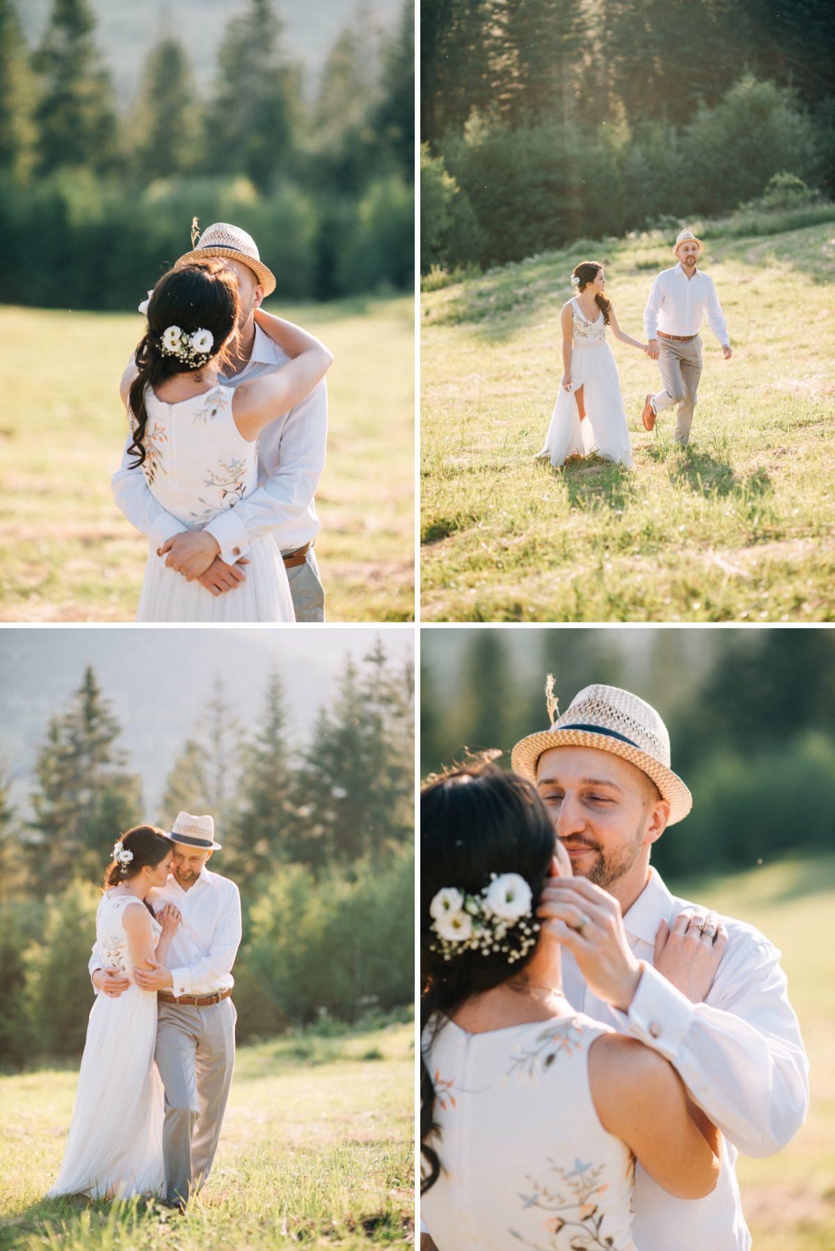 rustykalny ślub w górach, mini sesja w dniu ślubu