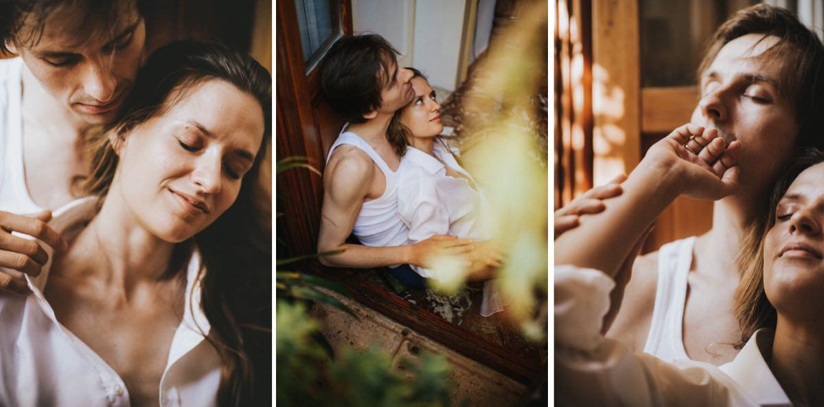 intymne przygotowania w dniu ślubu we dwoje we Włoszech, czuła sesja ślubna