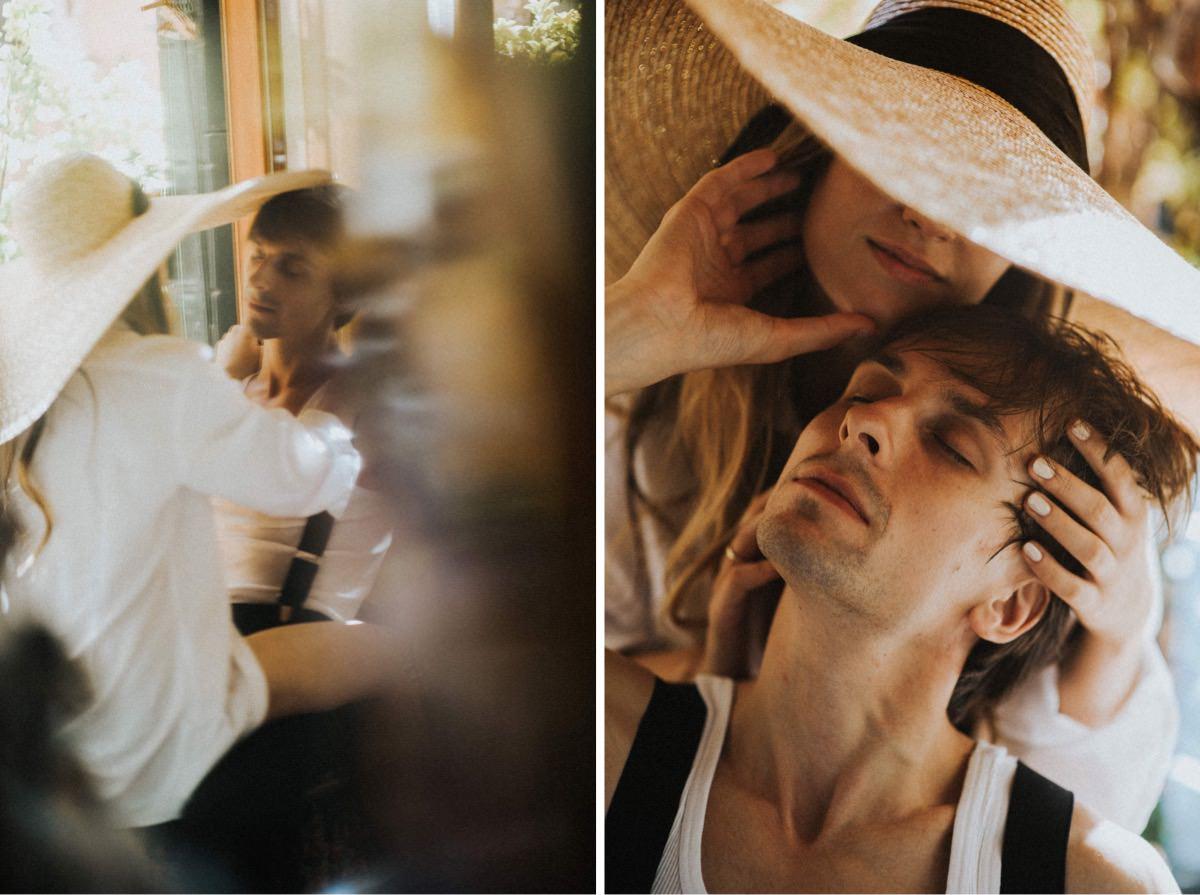 przygotowania w dniu ślubu, intymna sesja ślubna z kapeluszem