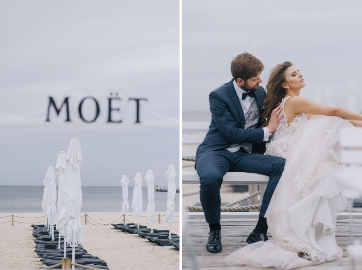 romantyczna sesja poslubna nad morzem Moet