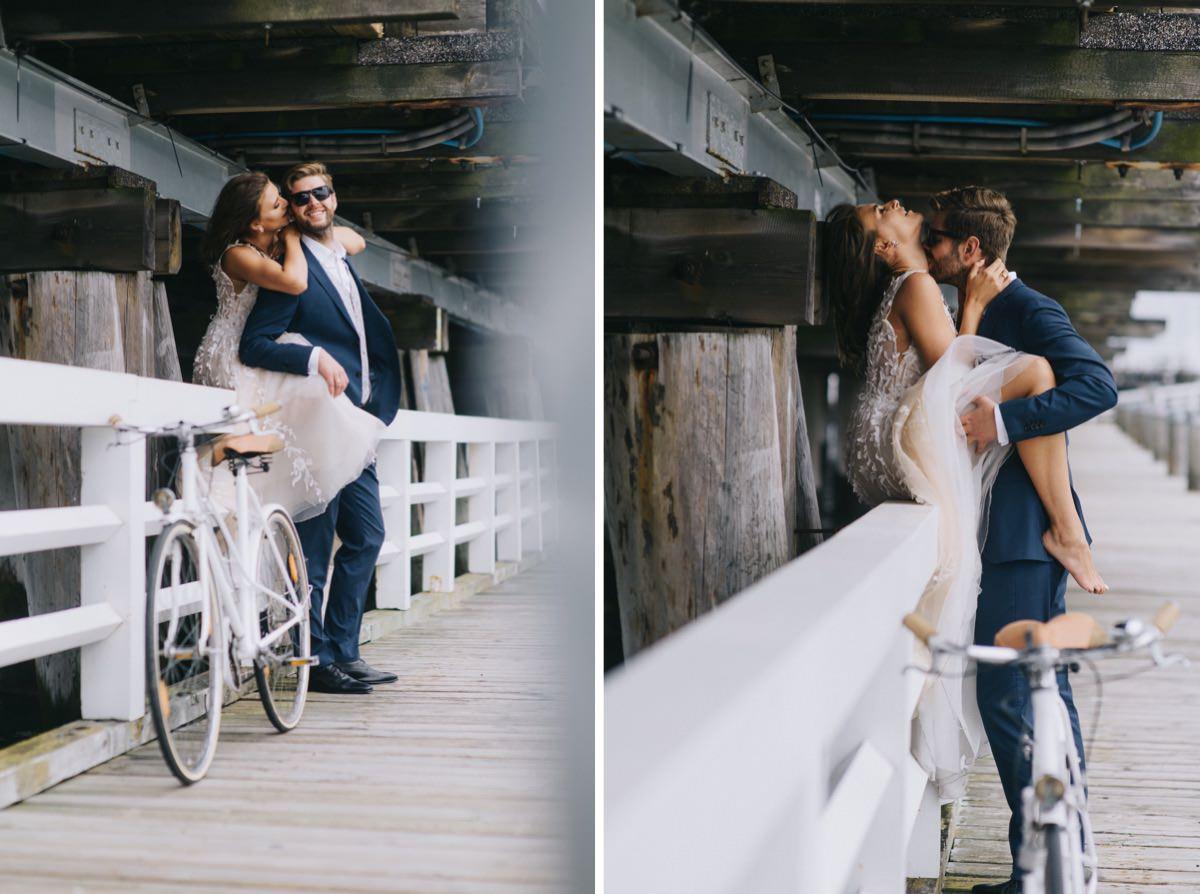 sesja poslubna na molo w Sopocie